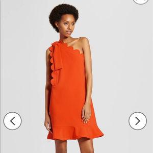 Victoria Beckham Orange One-shoulder Dress NEW
